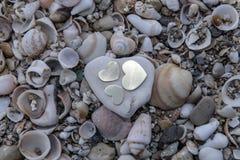 Trzy serca na skale na Dennych skorupach Obraz Royalty Free