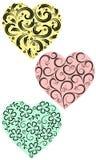 Trzy serca od kędziorów Zdjęcie Royalty Free