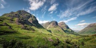 Trzy siostry Bidean nam Bian, roztoka Coe, Szkocja Zdjęcie Royalty Free