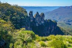 Trzy siostry od echowego punktu, błękitne góry park narodowy, Australia 4 obraz stock
