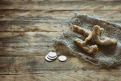 Trzy skorupa chleb na brezentowym płótnie Obraz Royalty Free