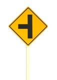 Trzy skrzyżowań ruch drogowy znak Fotografia Stock