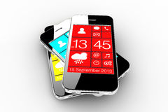 Trzy smartphones Fotografia Stock