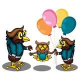 Trzy sowa Dostaje sztukę Togather royalty ilustracja