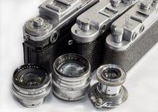 Trzy sowieci kamera i obiektyw Zdjęcie Royalty Free