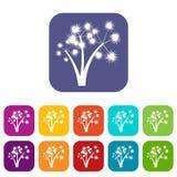 Trzy spiky drzewko palmowe ikony ustawiającej Zdjęcia Stock