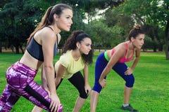 Trzy sportsmenki przygotowywającej bieg w parku Obraz Royalty Free