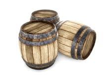 Trzy starej drewnianej baryłki odizolowywającej na białym tle 3 d czynią Fotografia Stock