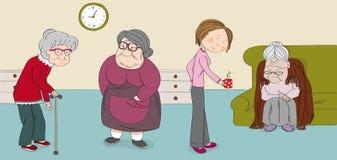 Trzy starszej kobiety, stare damy, ?liczne babcie w starszym spoczynkowym domu M?oda opiekun piel?gniarka przynosi fili?ank? tr?j ilustracji