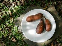 Trzy strąka używać jako alternatywa kakao umieszczający na round bielu talerzu carob drzewo obrazy stock