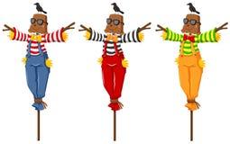 Trzy strach na wróble na drewnianych kijach ilustracja wektor