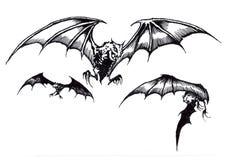 Trzy Strasznego Halloween nietoperza w locie Fotografia Royalty Free