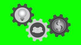 Trzy symbolu w wirować przekładnie, żarówka pomysł, robi pracie zespołowej ilustracji