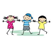 Trzy szczęsliwego dzieciaka, dancingowi dzieci, wektorowa ilustracja ilustracji