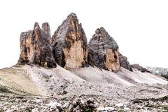 Trzy szczytu Lavaredo włoszczyzna: Tre Cime Di Lavaredo wewnątrz Zdjęcia Royalty Free