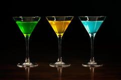 Trzy szkła różni alkoholów koktajle zdjęcia royalty free