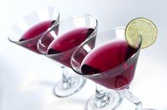 Trzy szkła Czerwony Martini Obrazy Stock