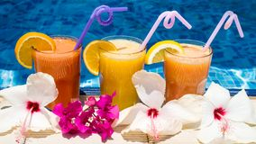 Trzy szkła owocowy sok basenem Zdjęcie Royalty Free