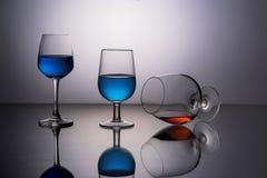 trzy szklanki wina Obrazy Stock