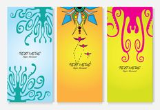 trzy sztandarów projektów ulotki Zdjęcie Royalty Free