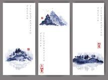 Trzy sztandaru z błękitnymi wyspami Zdjęcie Stock