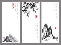 Trzy sztandaru z górami i bambusem Obraz Royalty Free