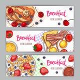 Trzy sztandaru z nakreśleń śniadaniami Fotografia Royalty Free