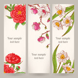 Trzy sztandaru z pociągany ręcznie kwiatami ilustracji