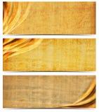 Trzy sztandaru z Starym Yellowed papierem Zdjęcia Royalty Free