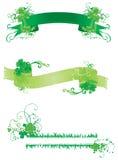 Trzy sztandaru z zieloną koniczyną ilustracja wektor