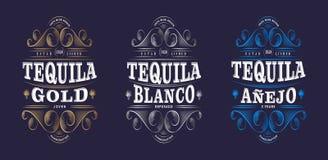 Trzy Tequila etykietki Tequila premia Pakuje projekt Literowanie skład i Curlicues Dekoracyjni elementy royalty ilustracja