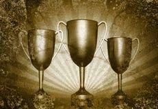 Trzy trofeum filiżanki Fotografia Royalty Free
