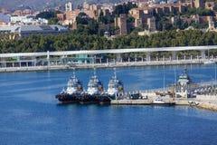 Trzy Tugboats Dokującego w Malaga Zdjęcia Royalty Free