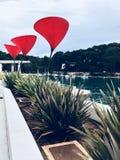 Trzy tulipanu lubią pouczających bodies na turystycznym deptaku przy wyspą Losinj Zdjęcia Royalty Free