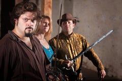 Trzy kordzika wojownika w Dungeon Obraz Royalty Free