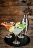 Trzy typ alkoholiczni koktajle z Martini Fotografia Stock