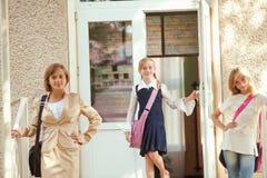 trzy uczennice Zdjęcia Royalty Free