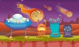 Trzy UFO na planecie i obcy ilustracji
