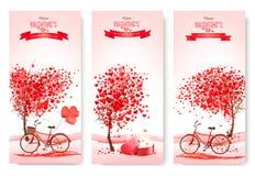 Trzy valentine ` s dnia sztandaru z różowymi drzewami i sercami Obrazy Royalty Free