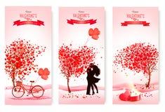 Trzy valentine ` s dnia sztandaru z różowymi drzewami i sercami Zdjęcia Royalty Free