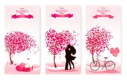 Trzy valentine ` s dnia sztandaru z różowymi drzewami i sercami wektor Fotografia Stock