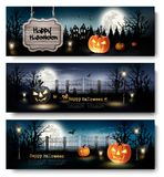 Trzy Wakacyjnego Halloweenowego sztandaru z baniami Zdjęcia Stock