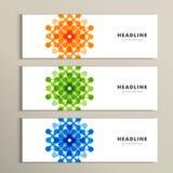 Trzy wektorów deseniowy abstrakt w sztandaru projekcie Obrazy Stock