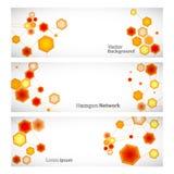 Trzy wektorów sztandar z abstrakcjonistyczna pomarańcze łączącymi sześciokątami Royalty Ilustracja