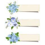 Trzy wektorowego sztandaru z różnorodnymi błękitnymi kwiatami Eps-10 Fotografia Stock