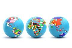 Trzy Światowej kuli ziemskiej z kraj flaga Fotografia Royalty Free
