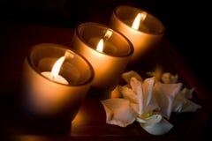 trzy świece. Fotografia Royalty Free