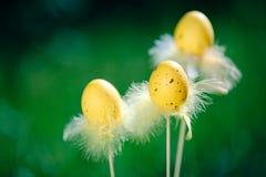 Trzy Wielkanocnego jajka na świeżym zielonym tle Obrazy Royalty Free