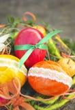 Trzy Wielkanocnego jajka z koronkowym tasiemkowym Easter deco Zdjęcia Royalty Free