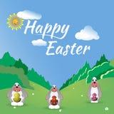 Trzy Wielkanocny królik w lasowej haliźnie Fotografia Stock